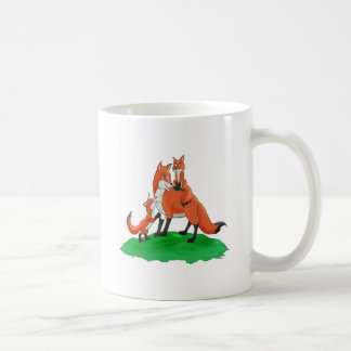 Mother Fox with Babies Gift Items Coffee Mugs