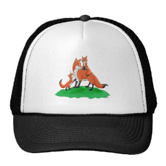 Mother Fox with Babies Gift Items Hats