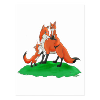 Mother Fox with Babies Gift Items Post Card
