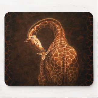 Mother Giraffe and Baby Mouse Pad