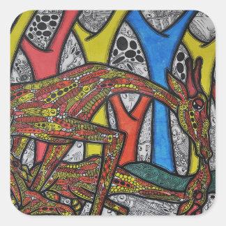 Mother Giraffe Square Sticker