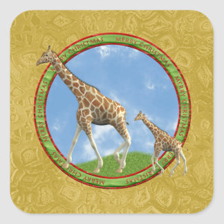 Mother Giraffe with Baby, Circle Merry Christmas Square Sticker