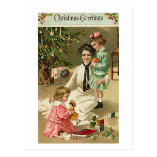 Mother Girls and Toys At Christmas Postcards