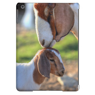Mother goat kissing her baby on head. iPad air cover