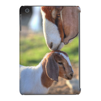 Mother goat kissing her baby on head. iPad mini covers