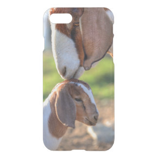 Mother goat kissing her baby on head. iPhone 8/7 case