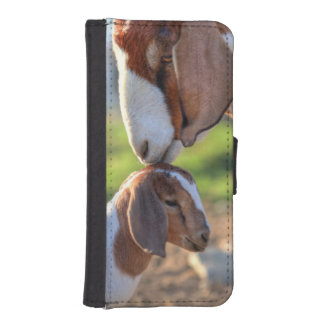 Mother goat kissing her baby on head. iPhone SE/5/5s wallet