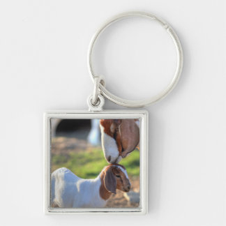 Mother goat kissing her baby on head. keychain