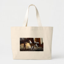 Mother Goat with brand new babies Large Tote Bag
