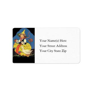 Mother Goose Costume Vintage Address Label