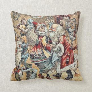 Mother Goose Dancing with Santa Claus Fine Art Throw Pillow
