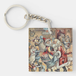 Mother Goose Dancing with Santa Claus Single-Sided Square Acrylic Keychain