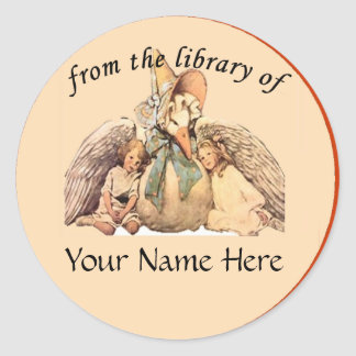 Mother Goose From the Library of Bookplate Classic Round Sticker