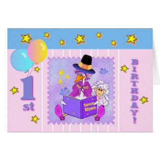 Mother Goose nursery rhymes first birthday templat Card