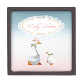 Mother Goose wearing Bonnet & Glasses with Baby Jewelry Box