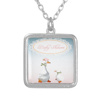 Mother Goose wearing Bonnet & Glasses with Baby Square Pendant Necklace