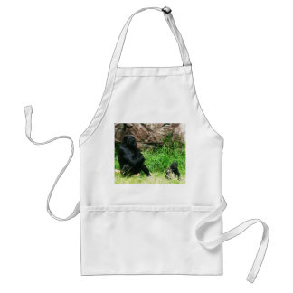 Mother Gorilla Watching Her 8 Month Old Baby Boy Adult Apron