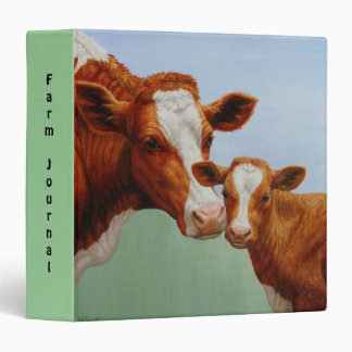 Mother Guernsey Cow and Cute Calf 3 Ring Binder