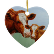Mother Guernsey Cow and Cute Calf Ceramic Ornament