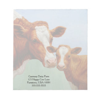 Mother Guernsey Cow and Cute Calf Notepad