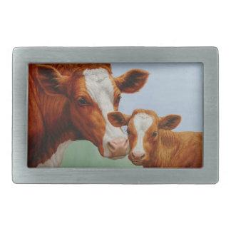 Mother Guernsey Cow and Cute Calf Rectangular Belt Buckle