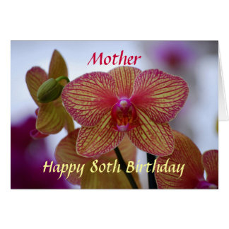 Mother Happy 80th Birthday Phalaenopsis Orchid Greeting Card