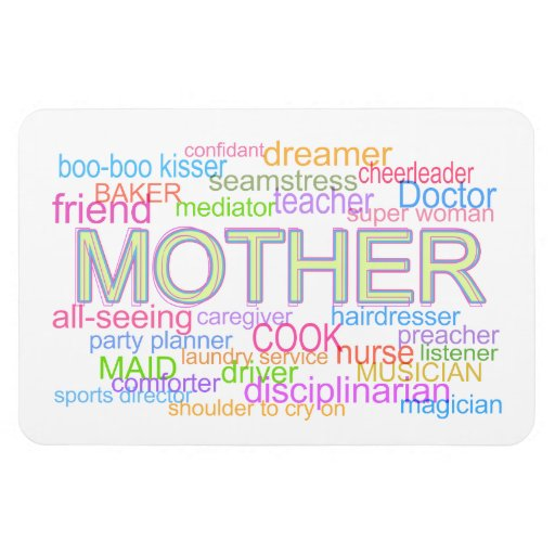 """""""Mother"""" Heartwarming Typographical Collage Rectangular Magnets"""