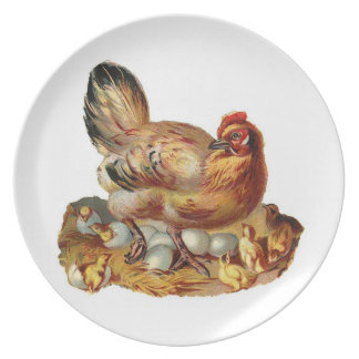 Mother Hen and Baby Chicks Plate