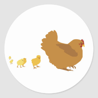 Mother Hen and Chicks Classic Round Sticker