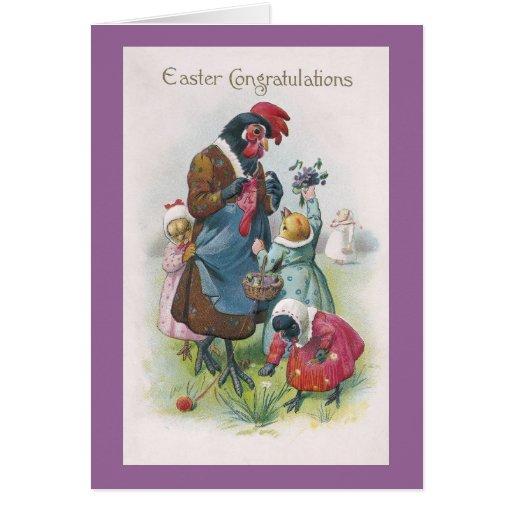 Mother Hen and Chicks Vintage Easter Card