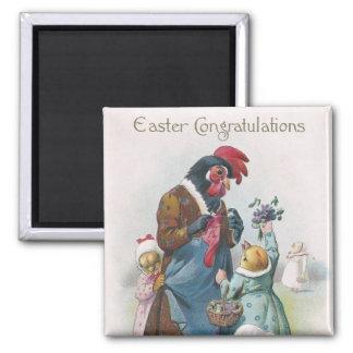 Mother Hen and Chicks Vintage Easter Magnet