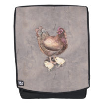 Mother Hen and Chicks Watercolor Backpack