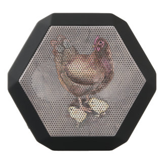 Mother Hen and Chicks Watercolor Black Bluetooth Speaker
