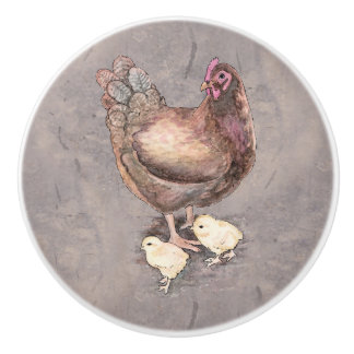 Mother Hen and Chicks Watercolor Ceramic Knob