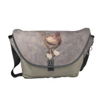 Mother Hen and Chicks Watercolor Courier Bag