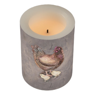 Mother Hen and Chicks Watercolor Flameless Candle