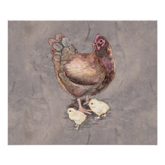 Mother Hen and Chicks Watercolor Poster