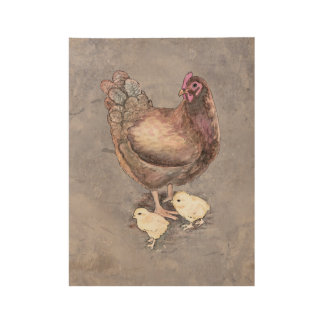 Mother Hen and Chicks Wood Poster