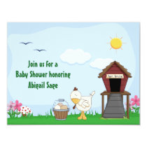 Mother Hen and Eggs Neutral Baby Shower Invitation