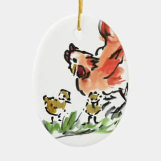 Mother Hen and Two Chicks Ceramic Ornament