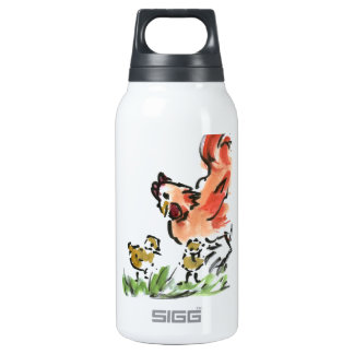 Mother Hen and Two Chicks Insulated Water Bottle