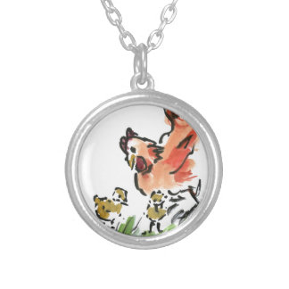 Mother Hen and Two Chicks Round Pendant Necklace