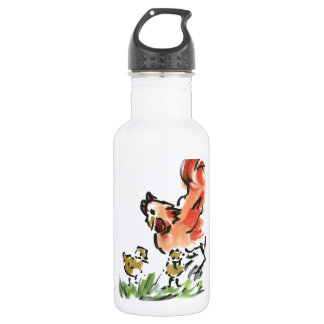 Mother Hen and Two Chicks Stainless Steel Water Bottle