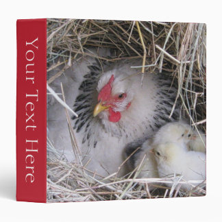 Mother Hen with New Chicks 3-Ring Binder