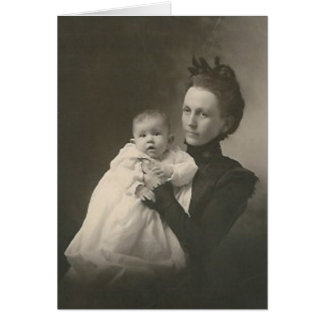 mother holding baby card