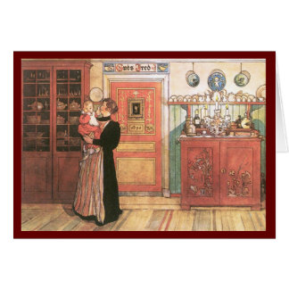 Mother Holding Baby in the Kitchen Greeting Cards