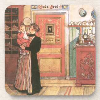 Mother Holding Baby in the Kitchen Coaster
