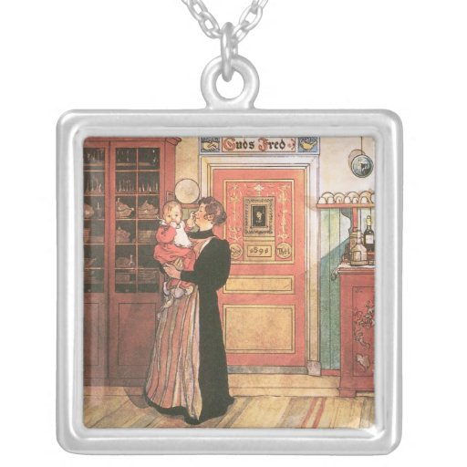 Mother Holding Baby in the Kitchen Necklaces