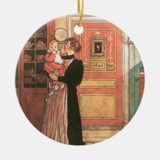 Mother Holding Baby in the Kitchen Double-Sided Ceramic Round Christmas Ornament