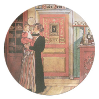 Mother Holding Baby in the Kitchen Dinner Plates